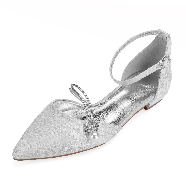 MarHermoso Perlen Damen Brautschuhe Satin Geschlossene Perlen MarHermoso Hochzeit Spitzenschuhe Silber 9d0056