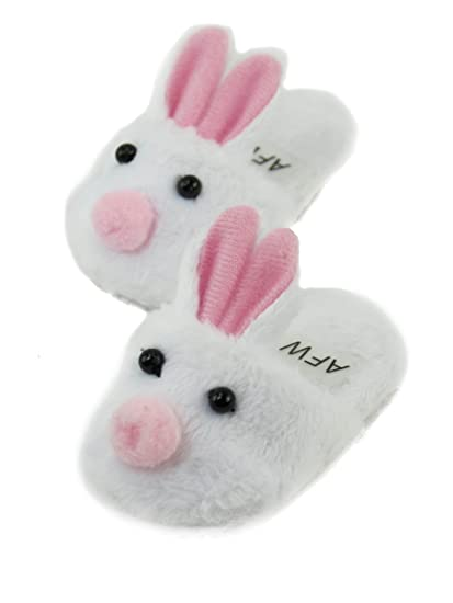 0c00f5c2c2d8 Image Unavailable. Image not available for. Color  Cute White Bunny Slippers  with Pink Ears