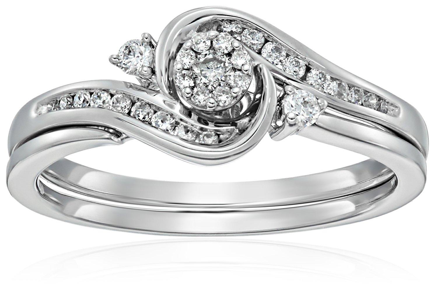 10k White Gold Round Cluster Top Diamond Twist with Interlocking Band Bridal Set (0.25 cttw I-J Color, I2-I3 Clarity), Size 7,white,