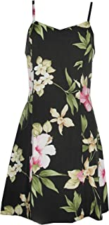 product image for Paradise Found Womens Hibiscus Summer Princess Seam Mini Sundress in Black - XS