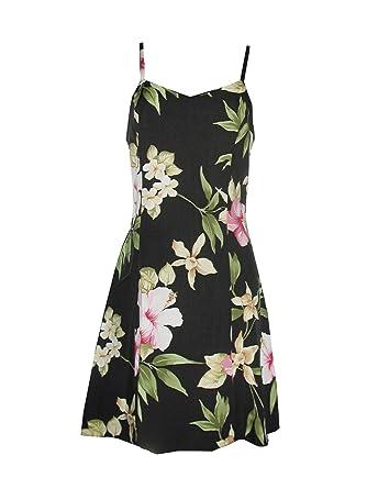 fc55e5e1909 Paradise Found Womens Hibiscus Summer Princess Seam Mini Sundress in Black  - XS at Amazon Women s Clothing store