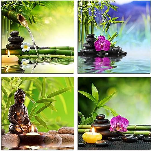 Amazon Com Zen Garden Wall Art Canvas Spa Green Bamboo Leaves