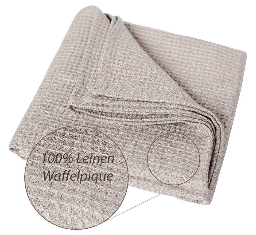 100% Leinen Badetuch Waffelpique Saunatuch - Groß 100x200 cm Leinentuch Waffel Duschtuch Dicke Strandtuch Handtücher