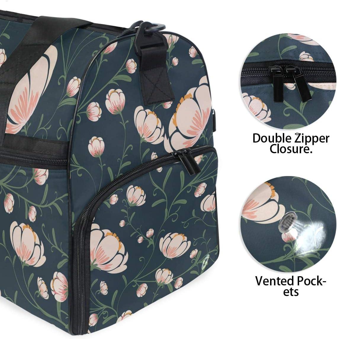 Travel Duffels Flowers Pattern Duffle Bag Luggage Sports Gym for Women /& Men