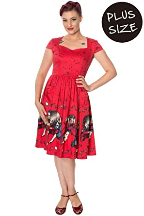 Banned Vanity Plus Size Vintage Retro Dress - Red Black at Amazon ...