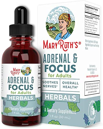 Adrenal Support & Focus Supplement by MaryRuth's | Adrenal Supplements Help The Body Manage Stressors & Improve Focus | Nootropic Adrenal Complex with Astragalus Root, Gingko Leaf, Wood Betony Herb