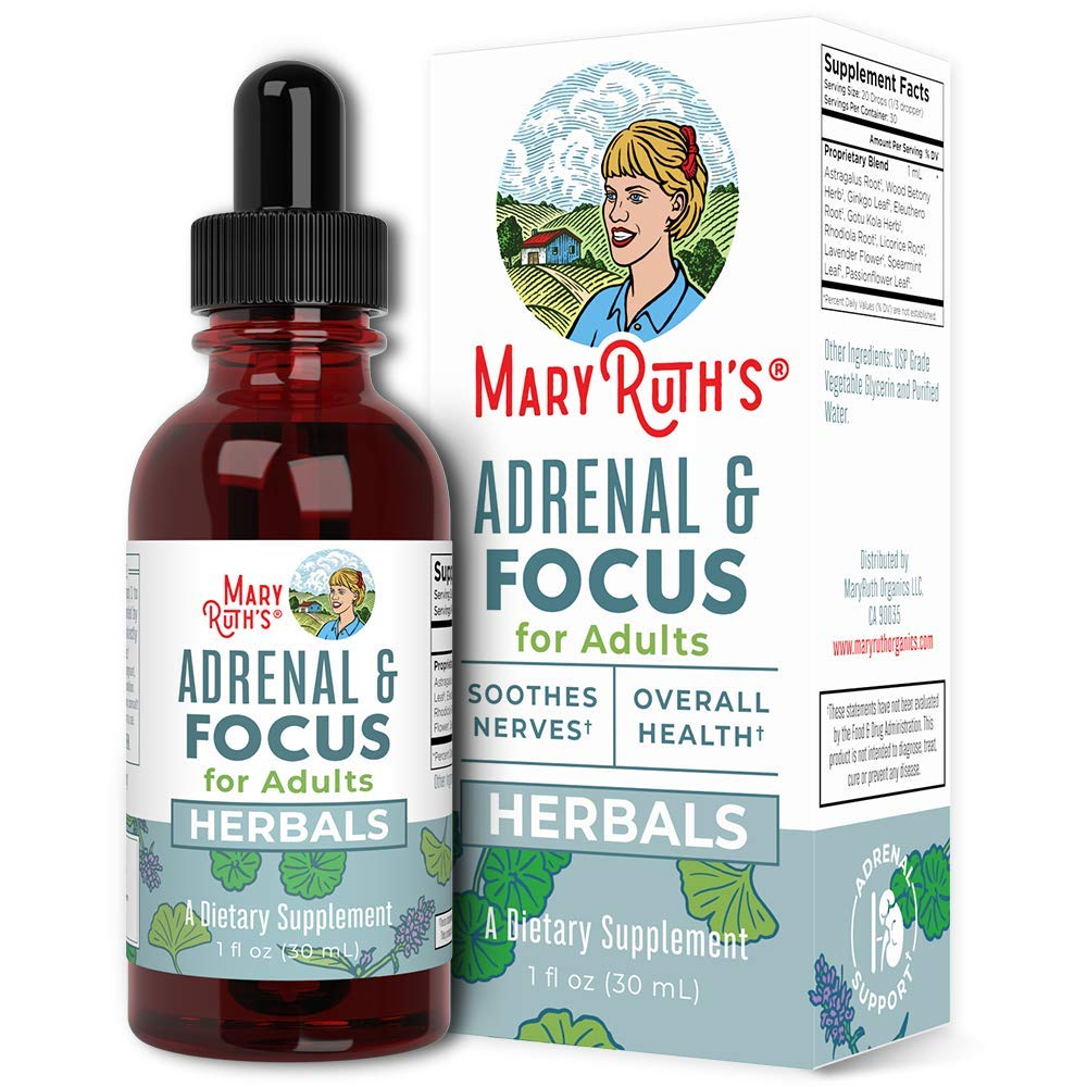 Adrenal Support & Focus Supplement by MaryRuth's   Adrenal Supplements Help The Body Manage Stressors & Improve Focus   Nootropic Adrenal Complex with Astragalus Root, Gingko Leaf, Wood Betony Herb