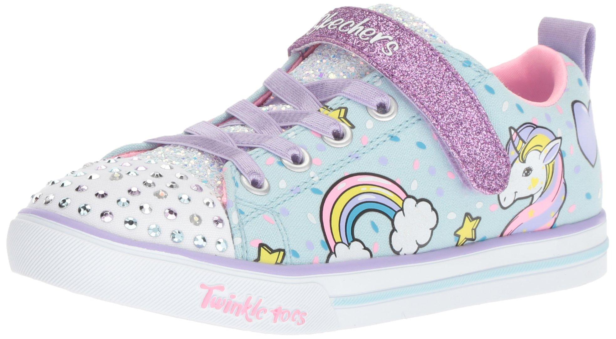 Skechers Kids Girls' Sparkle LITE-Unicorn Craze Sneaker, Light Blue/Multi, 9 Medium US Toddler