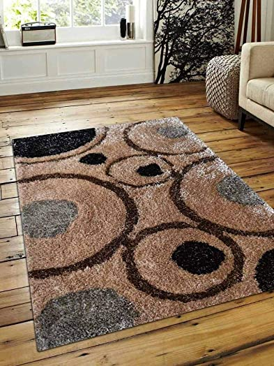 Rugsotic Carpets Hand Tufted Shag Polyester 9 x12 Area Rug Geometric Beige Multicolor K00004