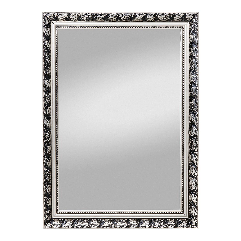 Mojawo Exklusiver Dekospiegel Rahmenspiegel Wandspiegel Spiegel silberfarben Antiklook 55x70cm