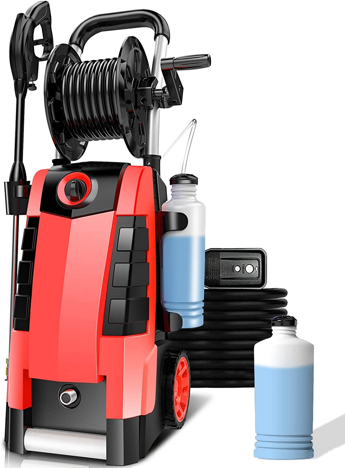 TEANDE 3800PSI Electric Pressure Washer, 2.8GPM High Pressure Power Washer 1800W Machine for Cars Fences Patios Garden Cleaning Hose Reel (Red)