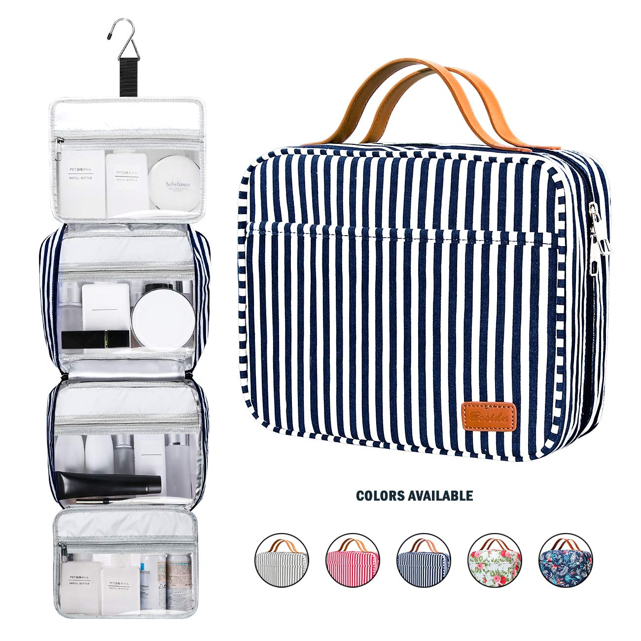 Hanging Travel Toiletry Bag,Large Capacity Cosmetic Toiletry Travel Organizer for Women/Men with 4 Compartments & 1 Sturdy Hook,Perfect for Travel/Daily Use (Navy Blue & White Striped) by Bosidu
