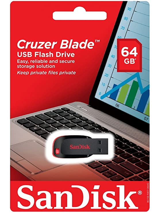 Sandisk Cruzer Blade 64 GB Usb Flash Drive Thumb Pen Memory Stick / Pen Drive Pen Drives at amazon