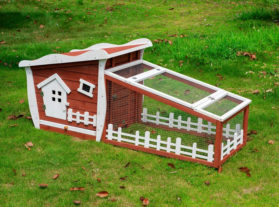 Good Life Wooden Easy Clean Rabbit Guinea Pig Cage Bunny Hutch – Outdoor Cute Fairytale Cartoon Style Pet House Coop