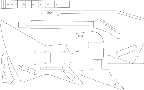 amazon com electric guitar layout template explorer office