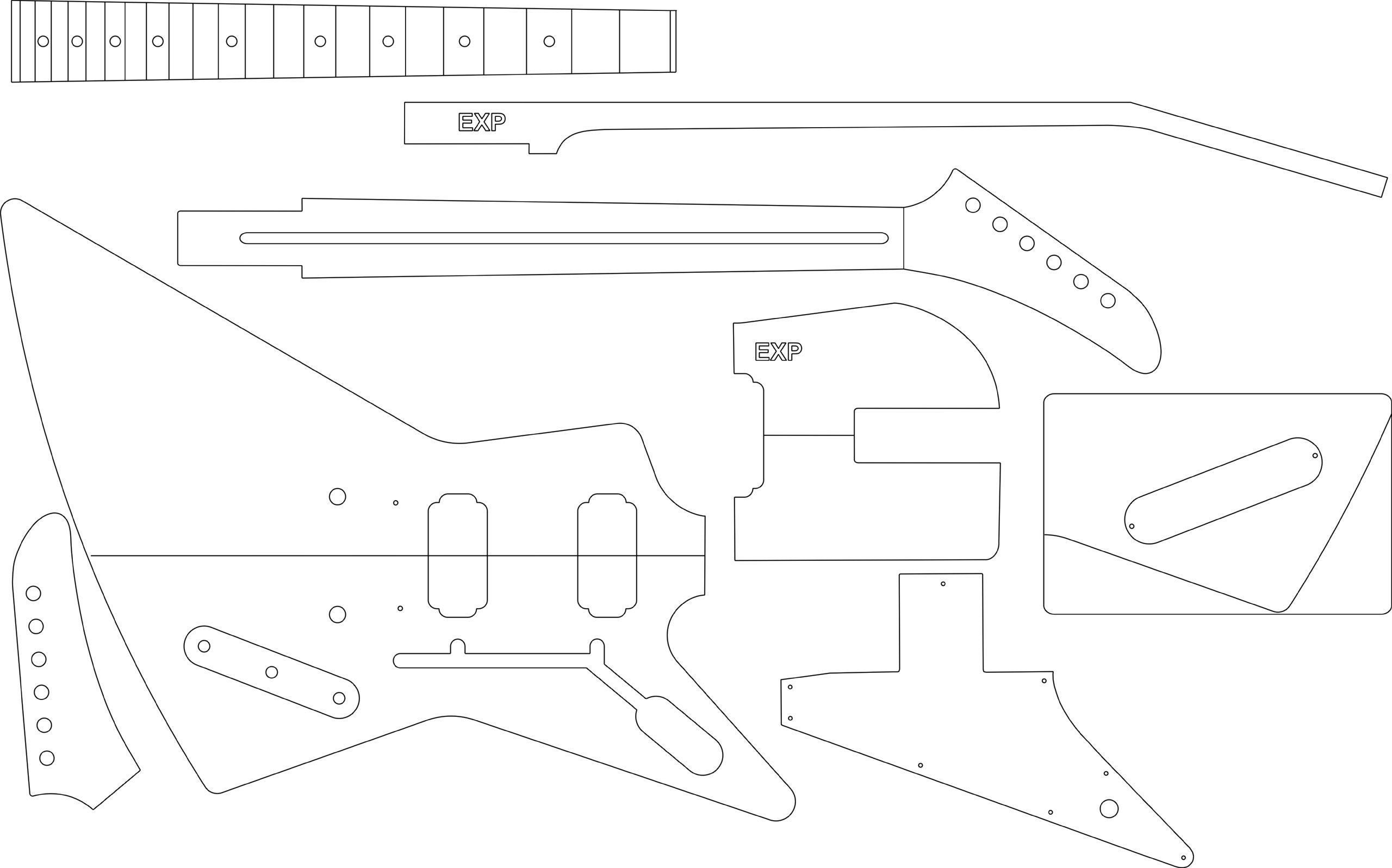 Electric Guitar Layout Template - Explorer by GPC (Image #1)