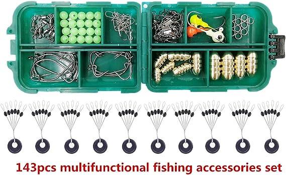 72pcs Fishing Accessories Texas Rigs Swivels Jig Head Sinker Hooks in Tackle Box