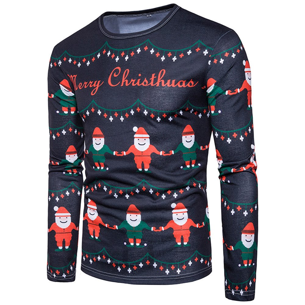 Sannysis Boys Hoodie,/Men Autumn Winter Xmas Christmas PrintingTop Mens Long-Sleeved T-Shirt Blouse