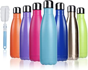 BOGI 17oz Insulated Water Bottle Double Wall Vacuum Stainless Steel Bottle Leak Proof keeps Hot and Cold Drinks for Outdoor Sports Camping Hiking Cycling(Dark Blue)