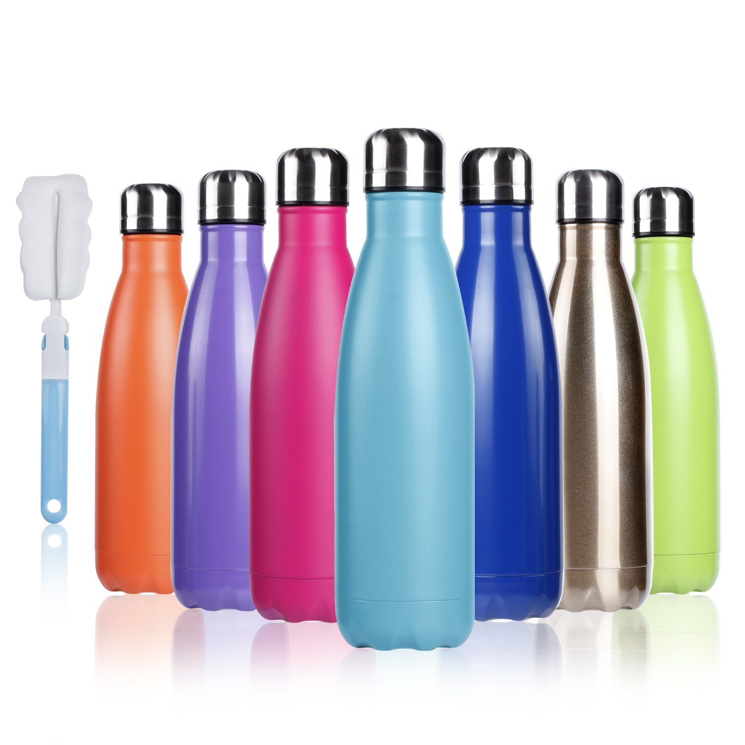 BOGI 17oz Insulated Water Bottle Double Wall Vacuum Stainless Steel Bottle Leak Proof Keeps Hot and Cold Drinks for Outdoor Sports Camping Hiking Cycling, Comes with a Cleaning Brush Gift