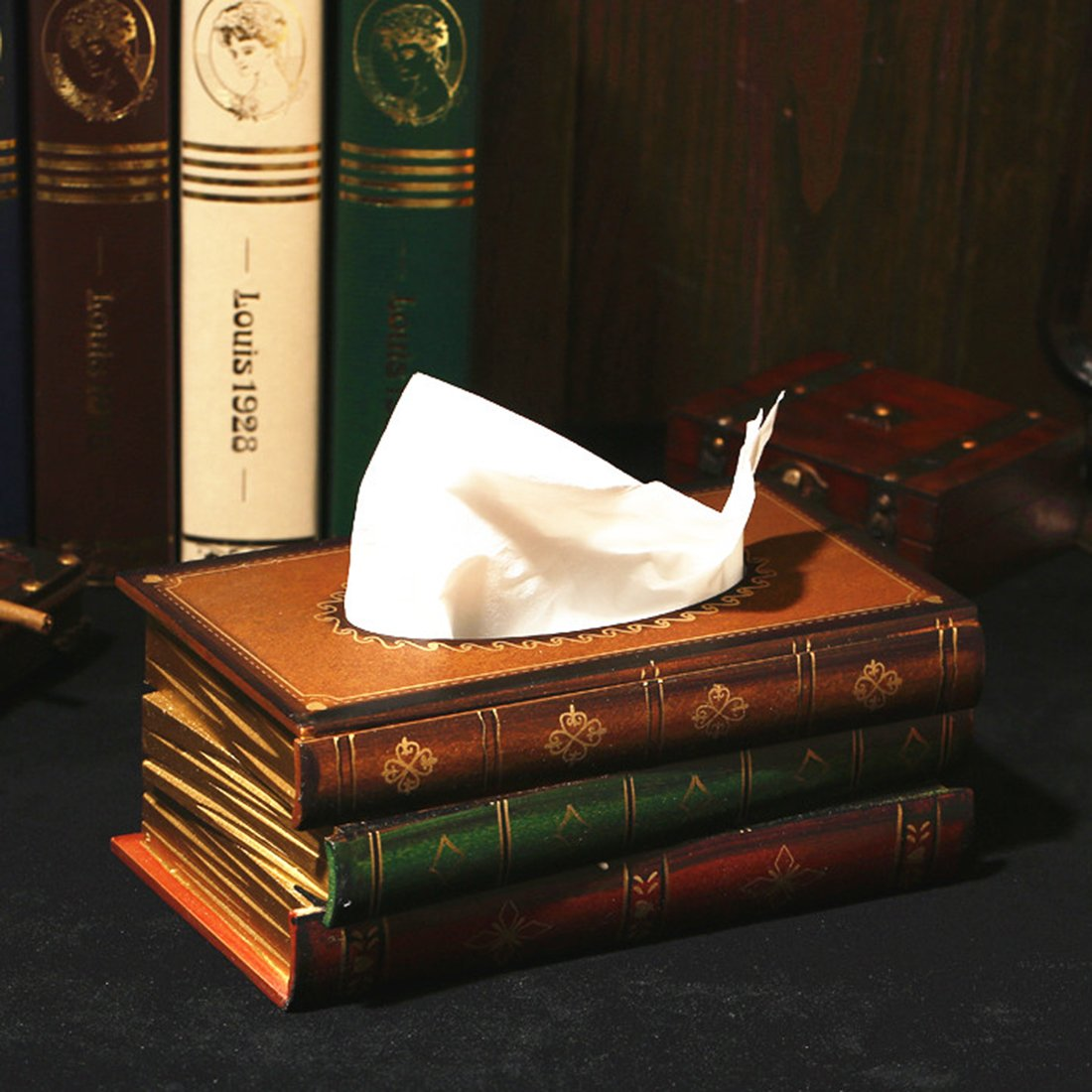 Tosnail Elegant Wooden Antique Book Tissue Holder Dispenser//Novelty Napkin Holder
