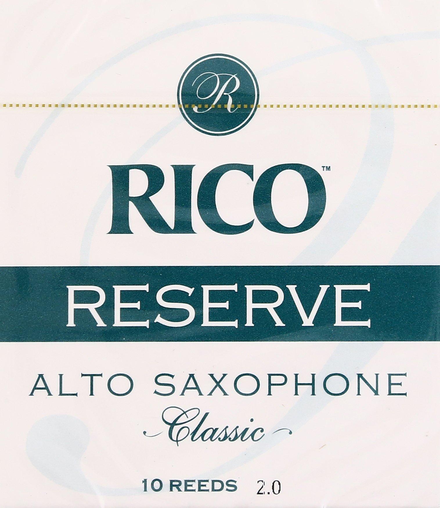 Rico Reserve Classic Alto Sax, Strength 2.0, 10-pack