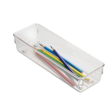 InterDesign Linus Organizador de cajones, cubertero para cajones de cocina pequeño en plástico para guardar cubiertos y otros utensilios, transparente
