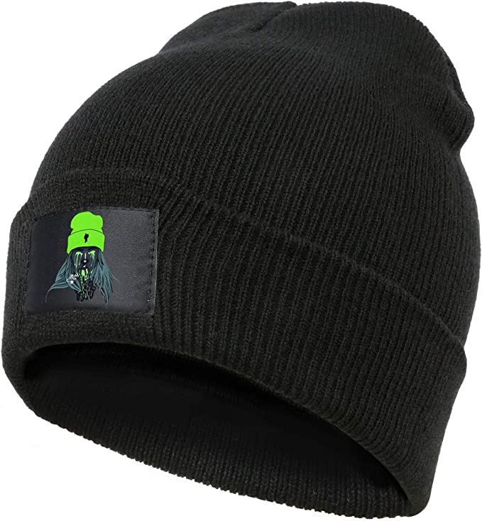 Black Beanie Billie with Billie Eilish printed on tag wearing a neon-green beanie