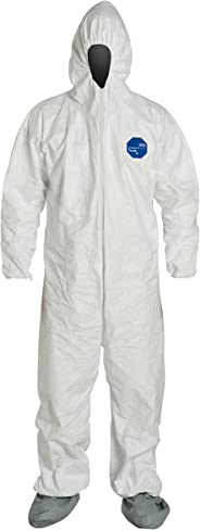 :DuPont Tyvek 400 TY122S Individually Packed Disposable Protective Coverall with Elastic Cuffs, Attached Hood and Boots, Whit