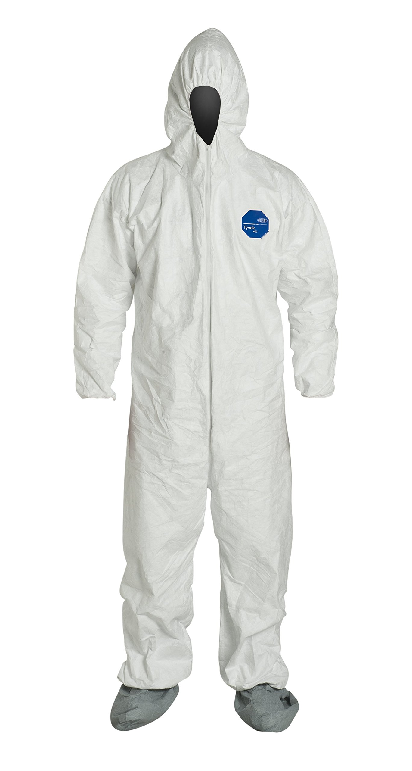 DuPont Tyvek 400 TY122S Disposable Protective Coverall with Elastic Cuffs, Attached Hood and Boots, White, X-Large (Pack of 6)