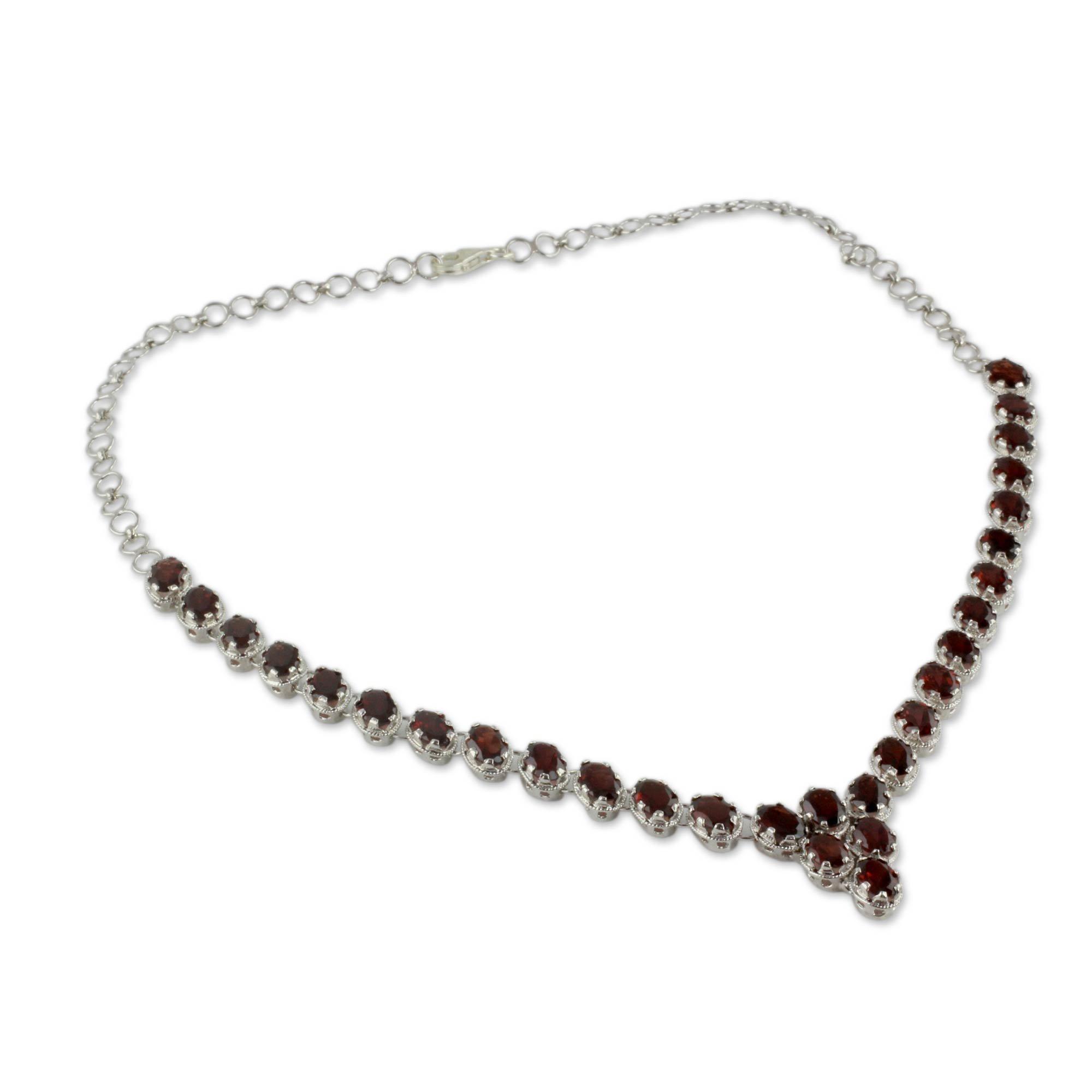 NOVICA Garnet .925 Sterling Silver Choker Necklace 'Cascading Crimson'