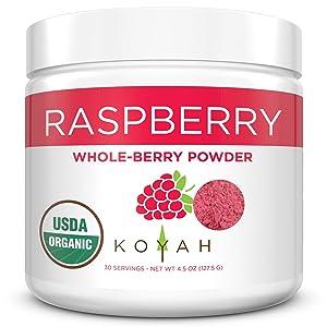 KOYAH - Organic Freeze-dried Raspberry Powder (Equivalent to 450 Raspberries): Whole-Berry Powder, Raw