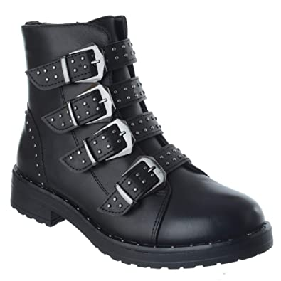 0ad07c7bab7d Miss Image UK Womens Shoes Ladies Flat Low Ankle Boots Studded Strappy  Biker Buckles Zip Size
