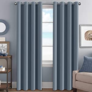 "H.VERSAILTEX Elegant Grommet Blackout Thermal Insualted Solid Curtains/Drapes,Window Treatment Panels (Set of 2, Stone Blue, 52"" W x 96"" L)"