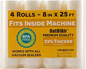 """8"""" x 25' Vacuum Sealer Rolls (That Fit Inside) - Pack of 4 (100 feet total) OutOfAir Vacuum Sealer Bags for Foodsaver, Weston etc. 33% Thicker, BPA Free, FDA Approved, Sous Vide, Commercial Grade"""