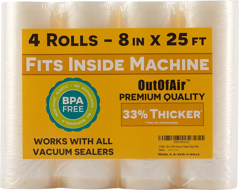 8'' x 25' Vacuum Sealer Rolls (That Fit Inside) - Pack of 4 (100 feet total) OutOfAir Vacuum Sealer Bags for Foodsaver, Weston etc. 33% Thicker, BPA Free, FDA Approved, Sous Vide, Commercial Grade