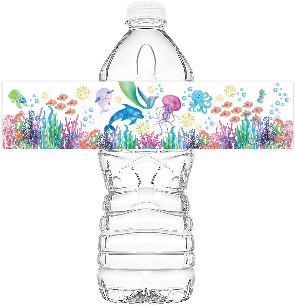 20 Under the Sea Water Bottle Mermaid Under the Sea Watercolor Bottle Wraps