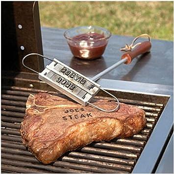 Simonshop al Aire Libre Barbacoa Marca Hierro Herramientas de Cocina con 55 Letras Estampado para Carne