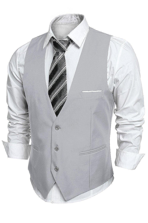 Coofandy Gilet de Costume Homme Veste sans Manche Business Mariage Taille S-XXL