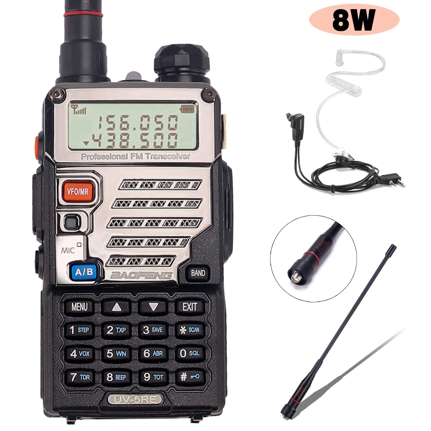 BaoFeng UV-5RE+ 8Watt Ham Radio Handheld Rechargeable with Gamtaai NA-771 Telescopic Antenna+Acoustic Tube Earpiece+2800mAh Large Battery,VHF/UHF Two Way Radio Long Range Walkie Talkies (Black) by BaoFeng