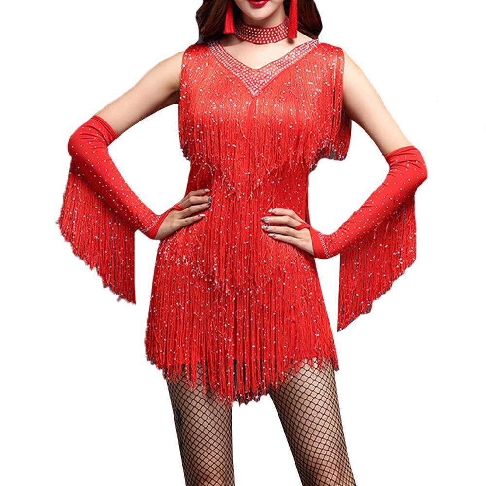 Rouge Robe de danse pour femmes Femmes Sans Manches Col En V Brillant Strass Glands Flapper Robe De Danse Latine Costume Adulte Rumba Tango Vêtements De Danse Perforhommece Sur scène Costume De Danse Jupe per Medium