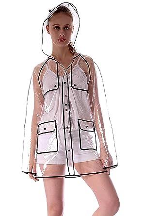 Regenjacke Damen Wasserdicht Atmungsaktiv Mit Kapuze Transparent Regenmantel