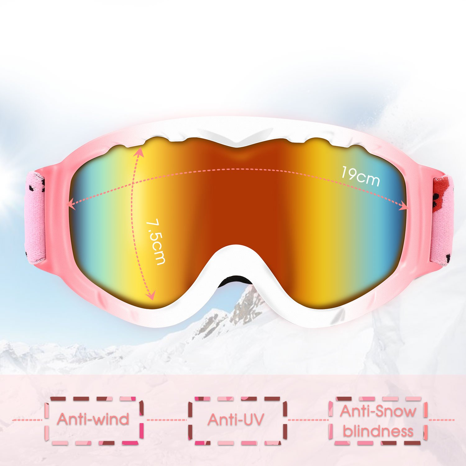 DAS Leben Ski Goggles Professional Anti-fog 104% UV Protection Snowboard Goggles With Sports Goggle Box for Skiing Snow Snowmobile Skiing Skate Winter(Men/Women/Girls/Boys/Kids)