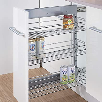 Kitchen Hardware Collection 8 Inch Pull Out Cabinet Spice Organizer 3 Tier Kitchen Spice Rack Organizer 18 5 Lx8 Wx25 9 H Pullout Sliding Shelf Chorme Amazon In Home Kitchen