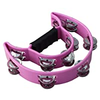ZZY Moon EZ Grip Tambourine 20 Jingles Hand Held Percussion Music Shaker Drum (Color : PURPLE)