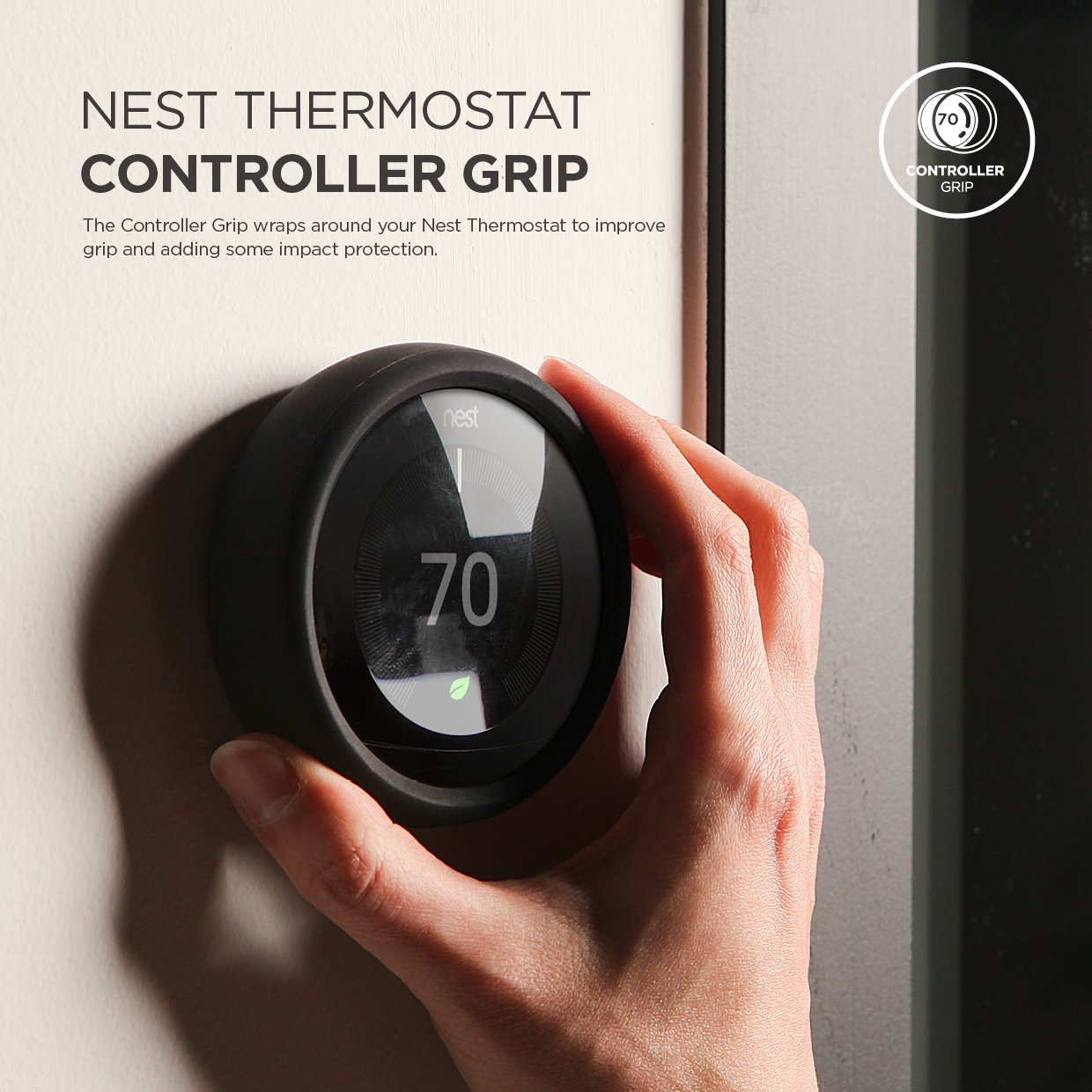 elago Controller Grip for Nest Learning Thermostat [Dark Grey] - [Harmless Silicone Material][Improve Grip][Easy Installation] - for 3rd & 2nd Generation ...