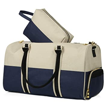 be5ff7d8b Canvas Duffle Bag with Shoe Compartment | FREE BONUS Matching Cosmetics Bag  for Men & Women