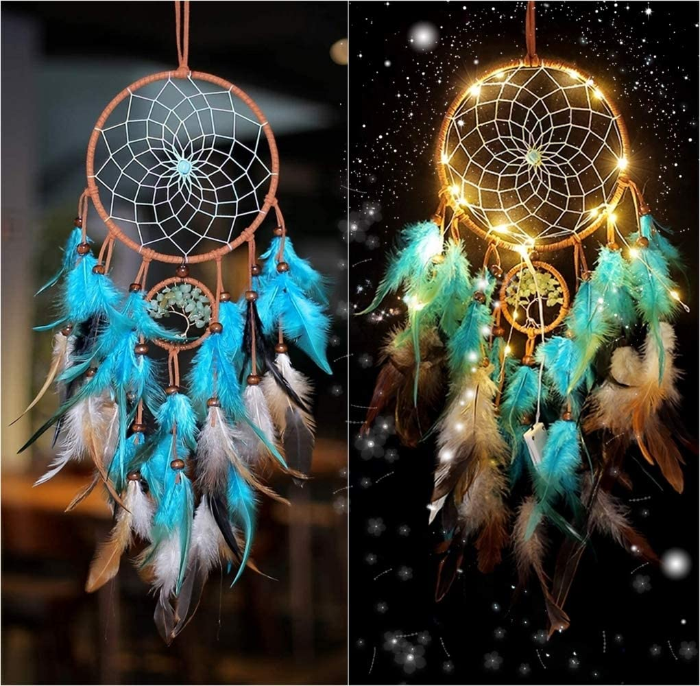 N-D Handmade Dream Catchers, Wall Hanging Decoration, LED Indian Dream Catchers for Bedroom Home Decor, Craft Gift