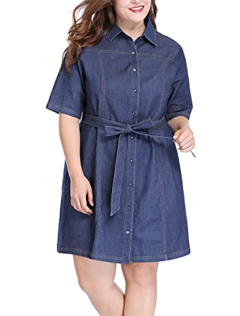 uxcell Women\'s Plus Size Half Sleeves Belted Above Knee Denim Shirt Dress