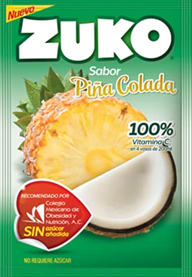 3 X ZUKO PINA COLADA Flavor No Sugar Needed Makes 2 Liters of Drink 15g From